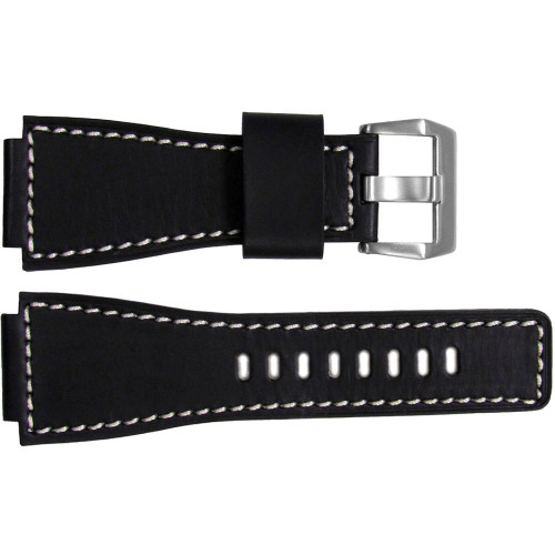 24mm Black HZ Vintage Leather Watch Strap with White Stitching For Bell & Ross | OEMwatchbands.com