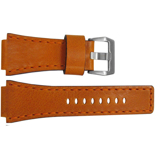 24mm Camel Vintage Leather Watch Strap with Match Hand Stitching For Bell & Ross | OEMwatchbands.com