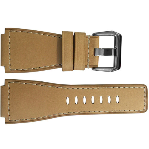 24mm Creme Russian Leather Watch Strap with White Stitching For Bell & Ross | OEMwatchbands.com