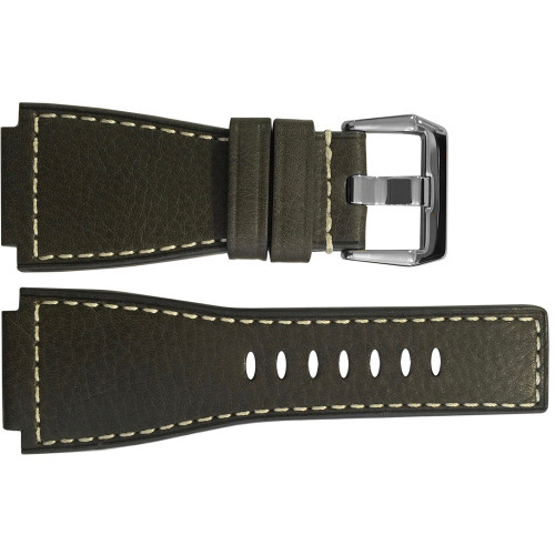 24mm Slate Russian Leather Watch Strap with White Stitching For Bell & Ross | OEMwatchbands.com