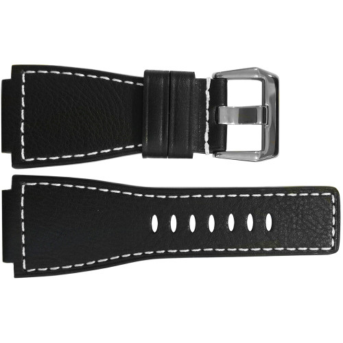 24mm Black Russian Leather Watch Strap with White Stitching For Bell & Ross | OEMwatchands.com