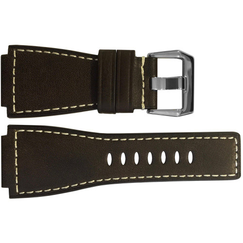 24mm Mocha Russian Leather Watch Strap with White Stitching For Bell & Ross | OEMwatchbands.com
