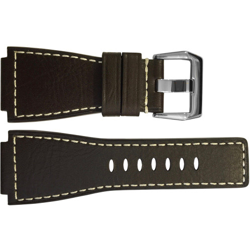 24mm Mocha Grain Russian Leather Watch Strap with White Stitching For Bell & Ross | OEMwatchbands.com
