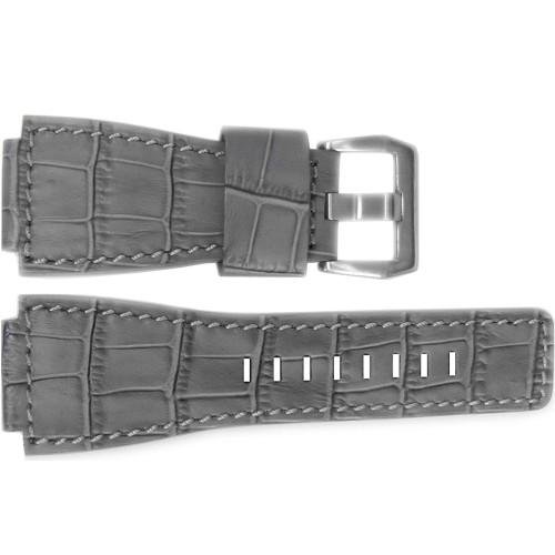 "24mm Grey Embossed Leather ""Gator"" Watch Strap with Match Stitching For Bell & Ross 
