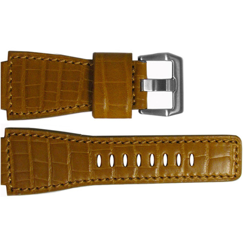 """24mm Honey Embossed Leather """"Gator"""" Watch Strap with Match Stitching For Bell & Ross 