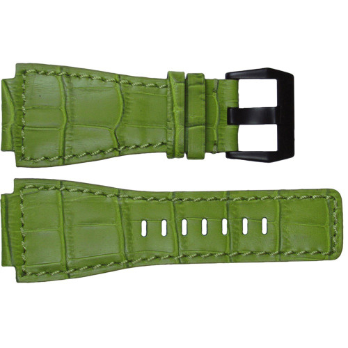 """24mm Green Embossed Leather """"Gator"""" Watch Strap with Match Stitching For Bell & Ross 