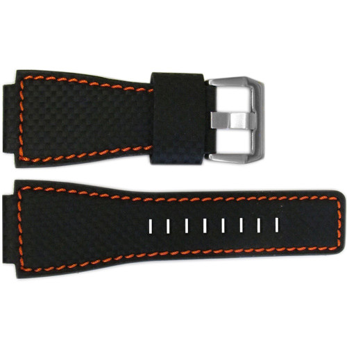 24mm Black Carbon Fiber Style Watch Strap with Orange Stitching For Bell & Ross | OEMwatchbands.com