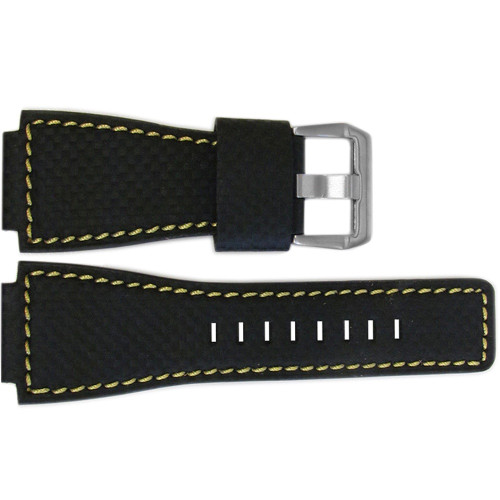 24mm Black Carbon Fiber Style Watch Strap with Yellow Stitching For Bell & Ross | OEMwatchbands.com