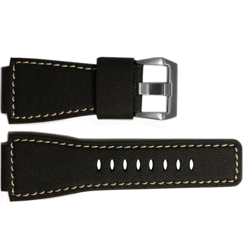 """24mm Black Leather Original """"KVLR"""" Style Watch Strap with White Stitching For Bell & Ross 