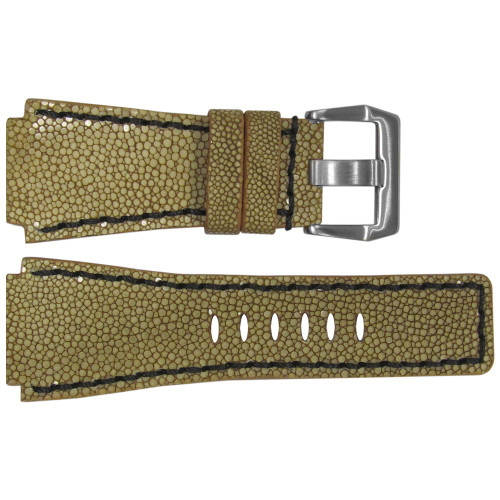 24mm Handmade Light Brown Stingray Watch Strap with Black Stitching for Bell & Ross | OEMwatchbands.com