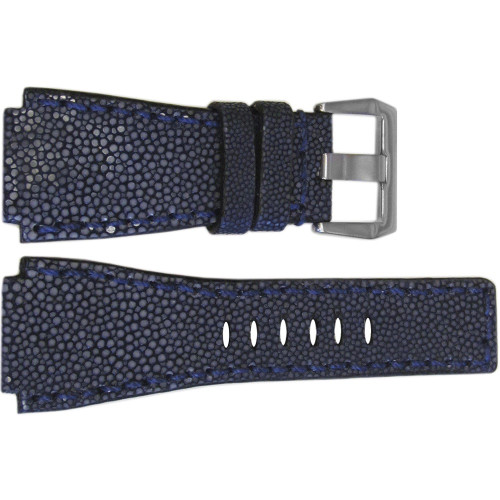 24mm Handmade Navy Stingray Watch Strap with Match Stitch for Bell & Ross | OEMwatchbands.com