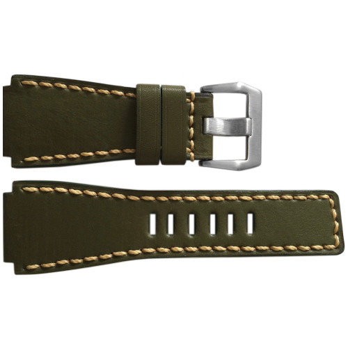 24mm Handmade Olive Vintage Leather Watch Strap with Tan Stitch for Bell & Ross | OEMwatchbands.com