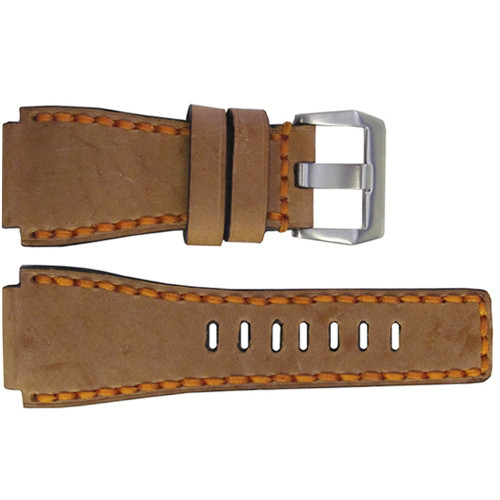 24mm Handmade Sand Vintage Leather Watch Strap with Orange Stitch for Bell & Ross | OEMwatchbands.com