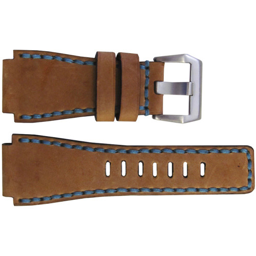 24mm Handmade Sand Vintage Leather Watch Strap with Blue Stitch for Bell & Ross | OEMwatchbands.com