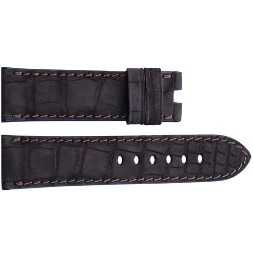 24mm Mocha Nubuk Alligator Watch Strap with Match Stitching for Panerai Deploy | OEMwatchbands.com