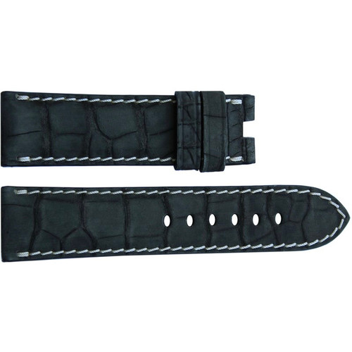 24mm Black Nubuk Alligator Watch Strap with White Stitching for Panerai Deploy | OEMwatchbands.com