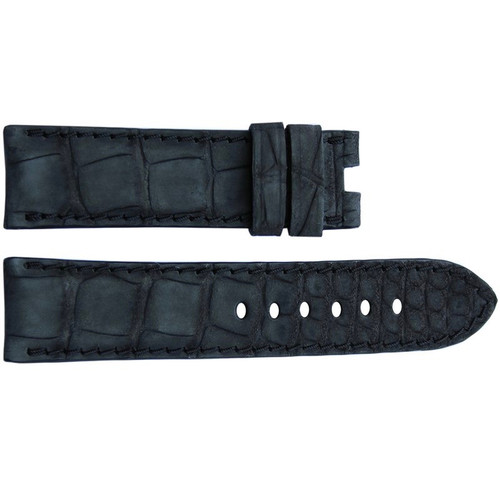 24mm Black Nubuk Alligator Watch Strap with Match Stitching for Panerai Deploy | OEMwatchbands.com