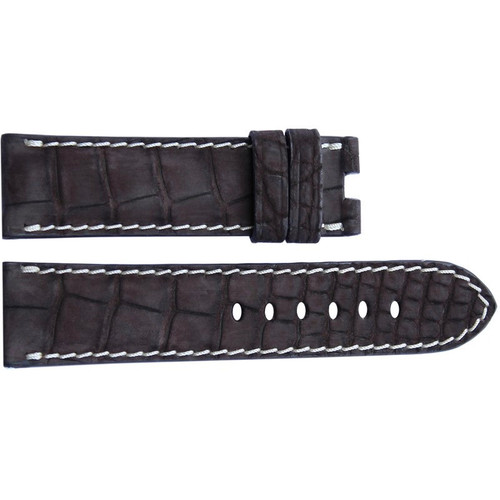 24mm Mocha Nubuk Alligator Watch Strap with White Stitching for Panerai Deploy | OEMwatchbands.com