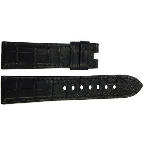 22mm Black Matte Alligator Watch Strap with Match Stitching for Panerai Deploy | OEMwatchbands.com
