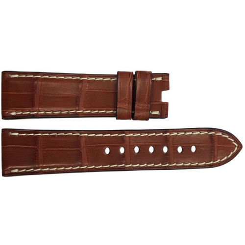 22mm Cognac Matte Alligator Watch Strap with White Stitching for Panerai Deploy | OEMwatchbands.com