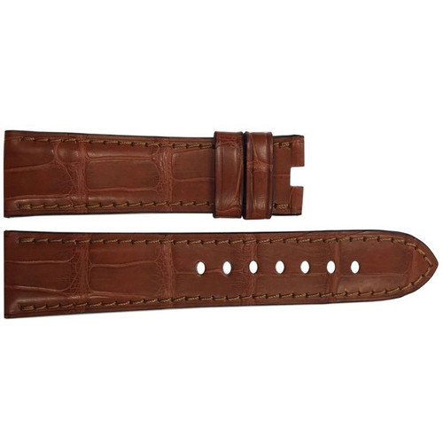 22mm Cognac Matte Alligator Watch Strap with Match Stitching for Panerai Deploy | OEMwatchbands.com