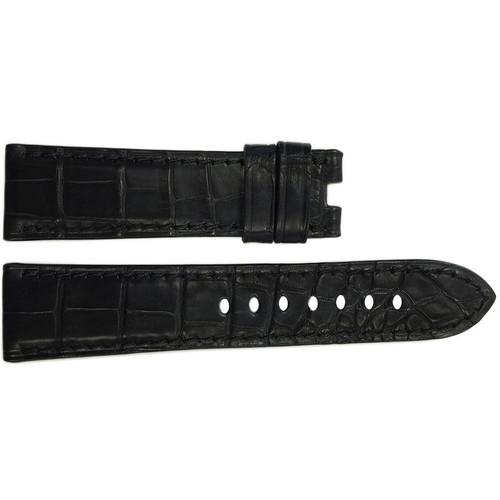 24mm (XL) Black Matte Alligator Watch Strap with Match Stitching for Panerai Deploy | OEMwatchbands.com