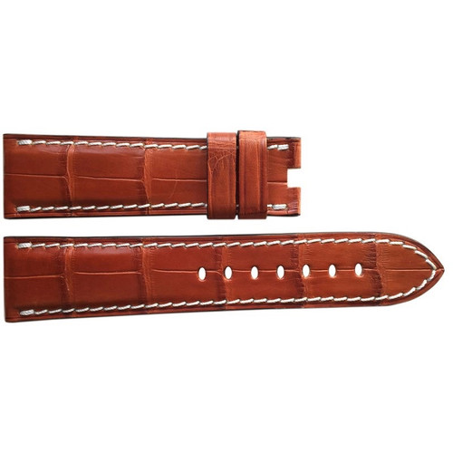 24mm (XL) Cognac Matte Alligator Watch Strap with White Stitching for Panerai Deploy | OEMwatchbands.com