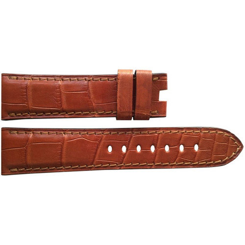 24mm (XL) Cognac Matte Alligator Watch Strap with Match Stitching for Panerai Deploy | OEMwatchbands.com