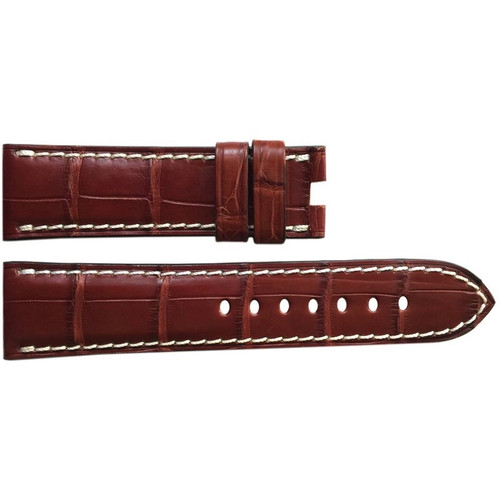 24mm (XL) Mahogany Matte Alligator Watch Strap with White Stitching for Panerai Deploy | OEMwatchbands.com