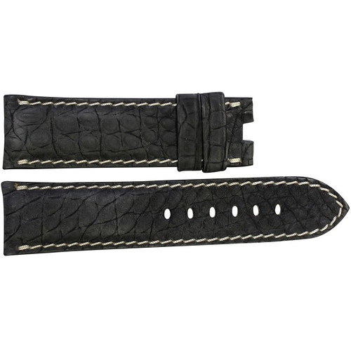 24mm Black Nubuk Alligator (Flank) Watch Strap with White Stitching for Panerai Deploy | OEMwatchbands.com
