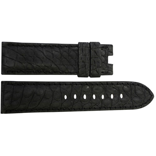 24mm Black Nubuk Alligator (Flank) Watch Strap with Match Stitching for Panerai Deploy | OEMwatchbands.com