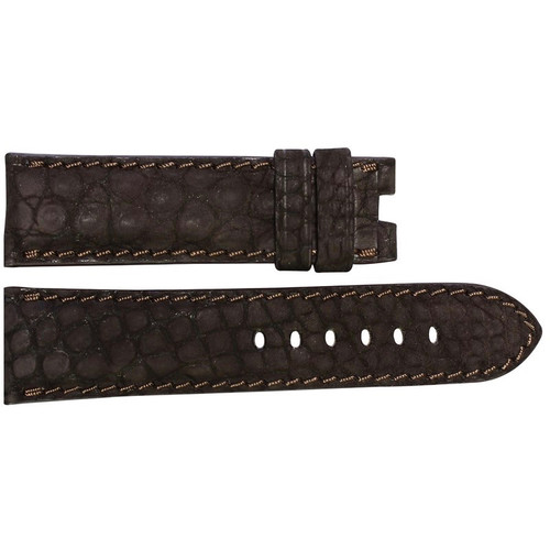 24mm Mocha Nubuk Alligator (Flank) Watch Strap with Match Stitching for Panerai Deploy | OEMwatchbands.com