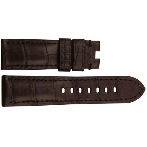 24mm (XL) Brown Matte Louisiana Alligator Watch Strap with Match Stitching for Panerai Deploy | OEMwatchbands.com
