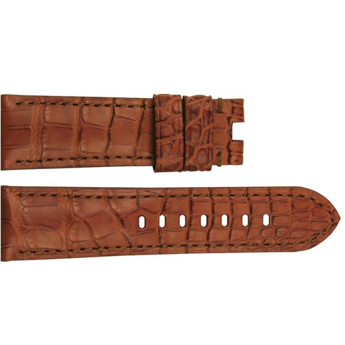 24mm (XL) Honey Matte Louisiana Alligator Watch Strap with Match Stitching for Panerai Deploy | OEMwatchbands.com