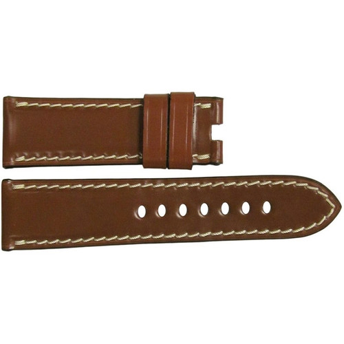 22mm Cognac Shell Cordovan Leather Watch Strap with White Stitching for Panerai Deploy | OEMwatchbands.com