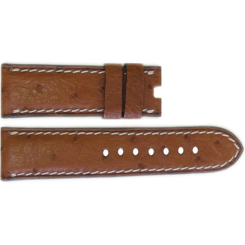 "22mm Natural ""Le Jardin"" Ostrich Watch Strap with White Stitching for Panerai Deploy 