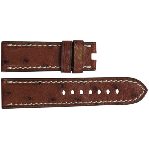 "24mm Mahogany ""Le Jardin"" Ostrich Watch Strap with White Stitching for Panerai Deploy 