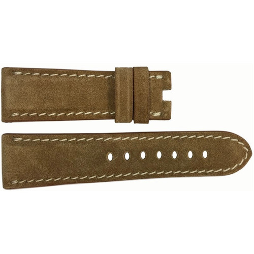 24mm Khaki Velour Watch Strap with White Stitching for Panerai Deploy | OEMwatchbands.com