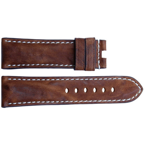 22mm Burnt Chestnut Vintage Leather Watch Strap with White Stitching for Panerai Deploy | OEMwatchbands.com