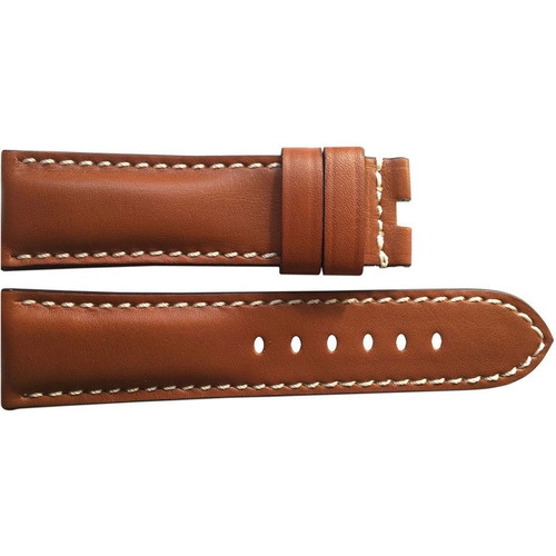 22mm Smooth Brown Vintage Leather Watch Strap with White Stitching for Panerai Deploy | OEMwatchbands.com