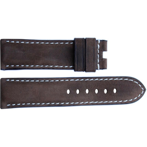 22mm Dark Olive Vintage Leather Watch Strap with White Stitching for Panerai Deploy | OEMwatchbands.com
