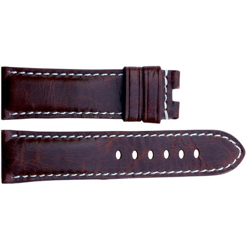 24mm (XL) Burnt Maroon Vintage Leather Watch Strap with White Stitching for Panerai Deploy | OEMwatchbands.com