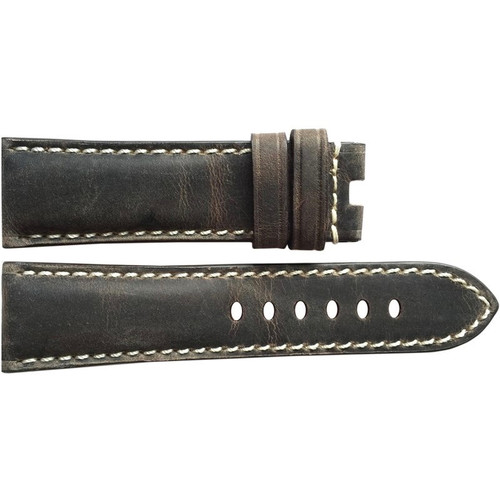 24mm (XL) Stone Vintage Leather Watch Strap with White Stitching for Panerai Deploy | OEMwatchbands.com