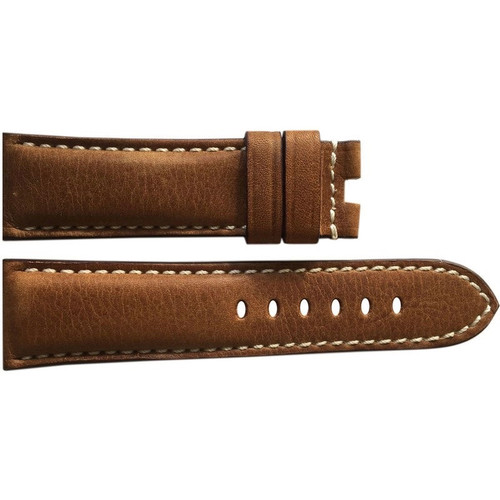 24mm (XL) Brown Distressed Vintage Leather Watch Strap with White Stitching for Panerai Deploy | OEMwatchbands.com