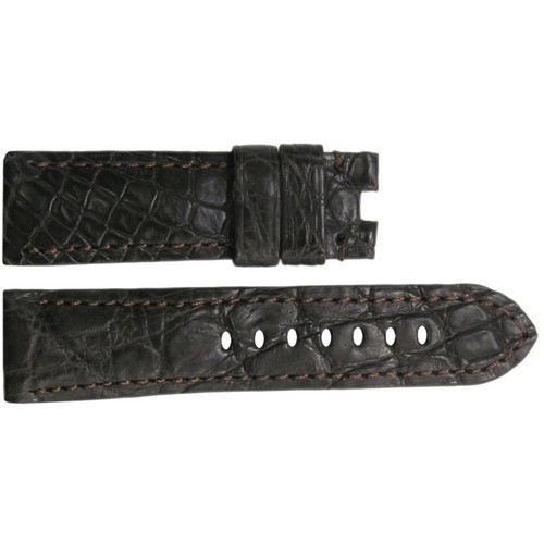 22mm Dark Brown Matte Crocodile Watch Strap with Match Stitching for Panerai Deploy | OEMwatchbands.com