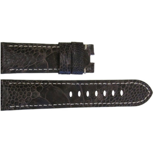 24mm Brown Ostrich Leg Watch Strap with White Stitching for Panerai Deploy | OEMwatchbands.com