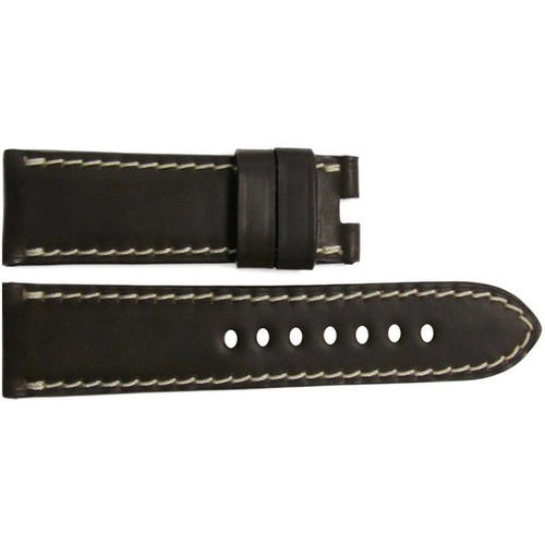 22mm Mocha Shell Cordovan Leather Watch Strap with White Stitching for Panerai Deploy | OEMwatchbands.com