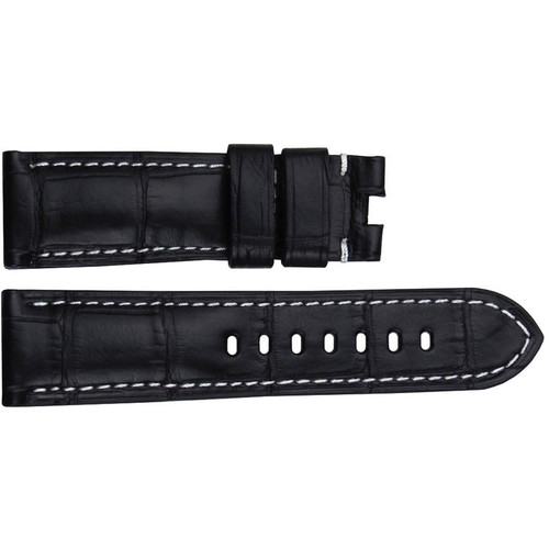 22mm (XL) Black Matte Louisiana Alligator Watch Strap with White Stitching for Panerai Deploy | OEMwatchbands.com