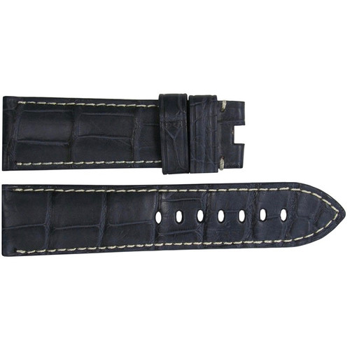 24mm Navy Matte Alligator Watch Strap with White Stitching for Panerai Deploy | OEMwatchbands.com