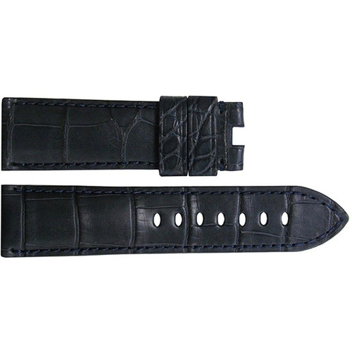 24mm Navy Matte Alligator Watch Strap with Match Stitching for Panerai Deploy | OEMwatchbands.com